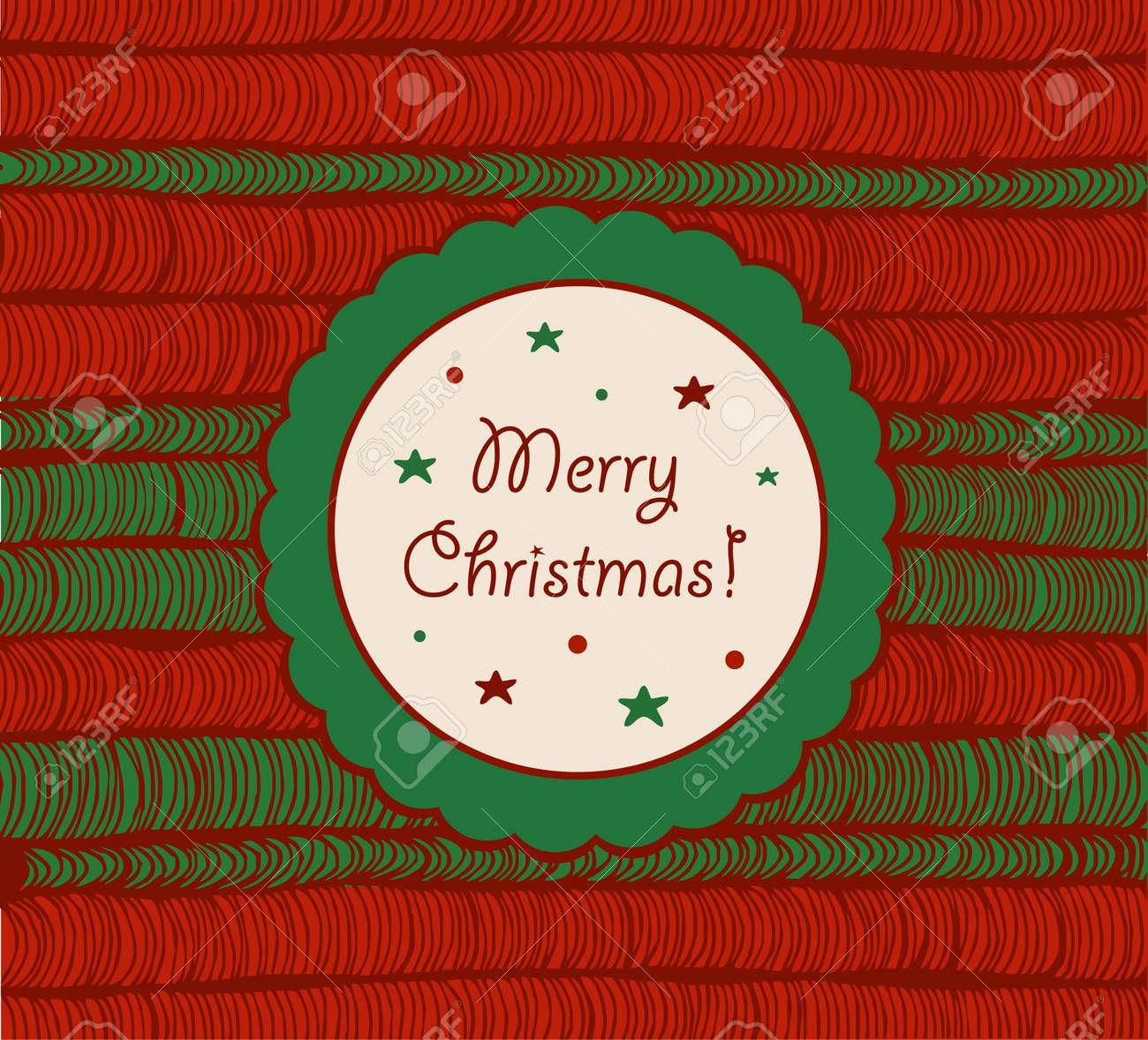 foto de archivo tarjeta de navidad con malla dibujada a mano elemento de textura vintage para navidad marco crculo de diseo con rosette texto