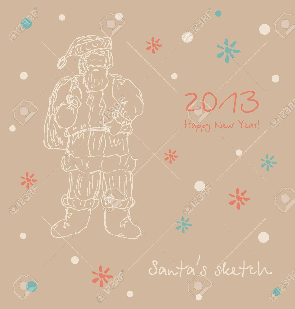 santa sketch happy new year card xmas elements for design christmas decoration stock vector 16552109