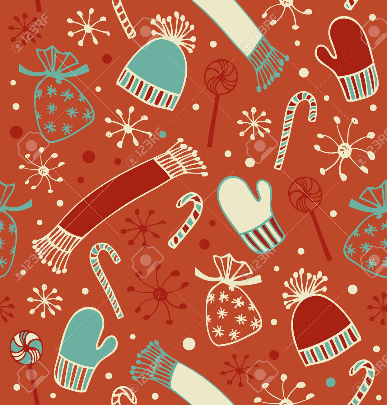 Seamless holiday Christmas pattern. Doodle lace backdrop with caps, scarfs, mittens and lollipops, sugarplums. Endless craft texture Stock Vector - 16799135