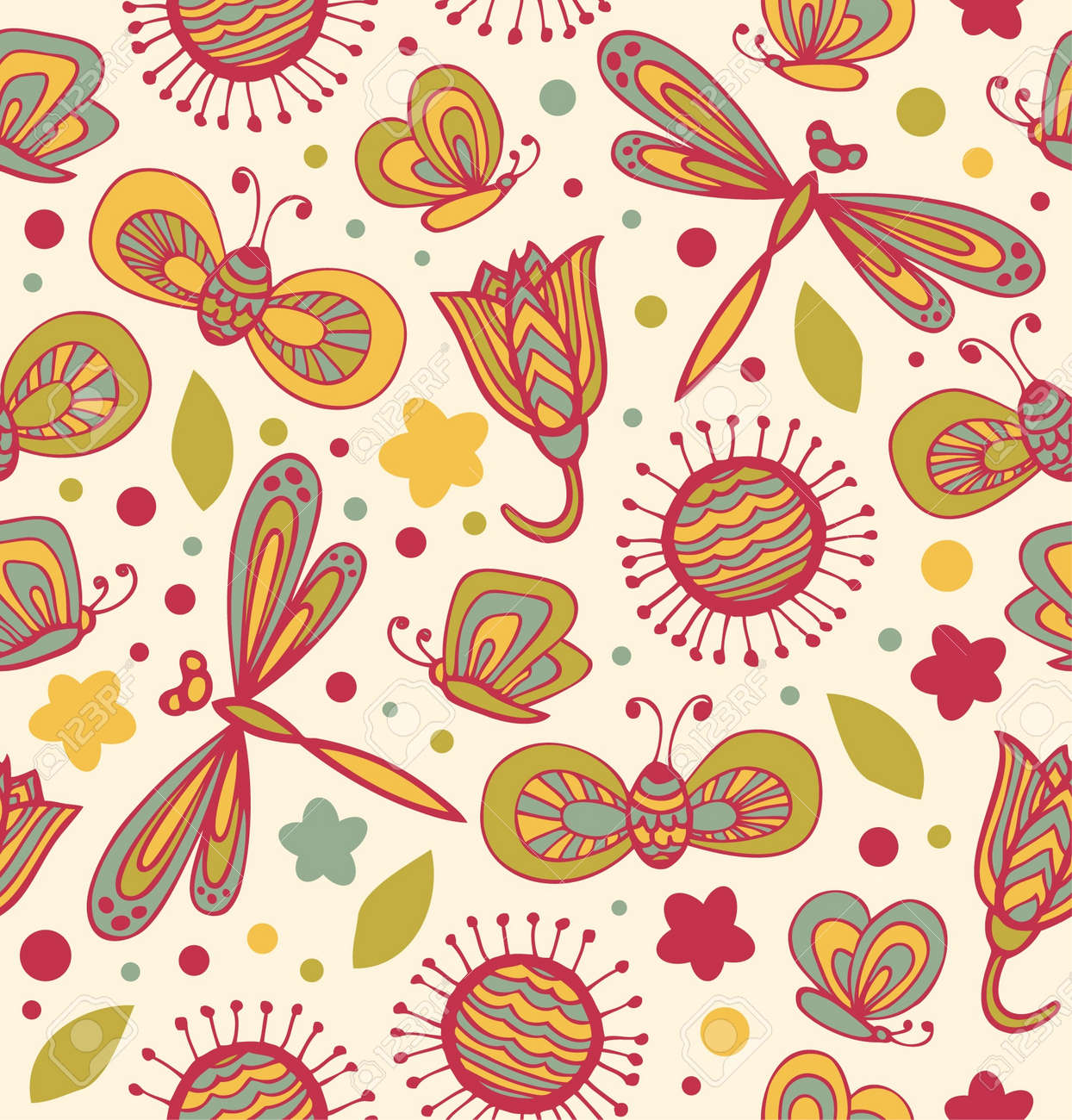 Cute floral pattern with flowers, dragonflies and butterflies  Ornate fabric seamless texture  Doodle childish lace background Stock Vector - 17210175