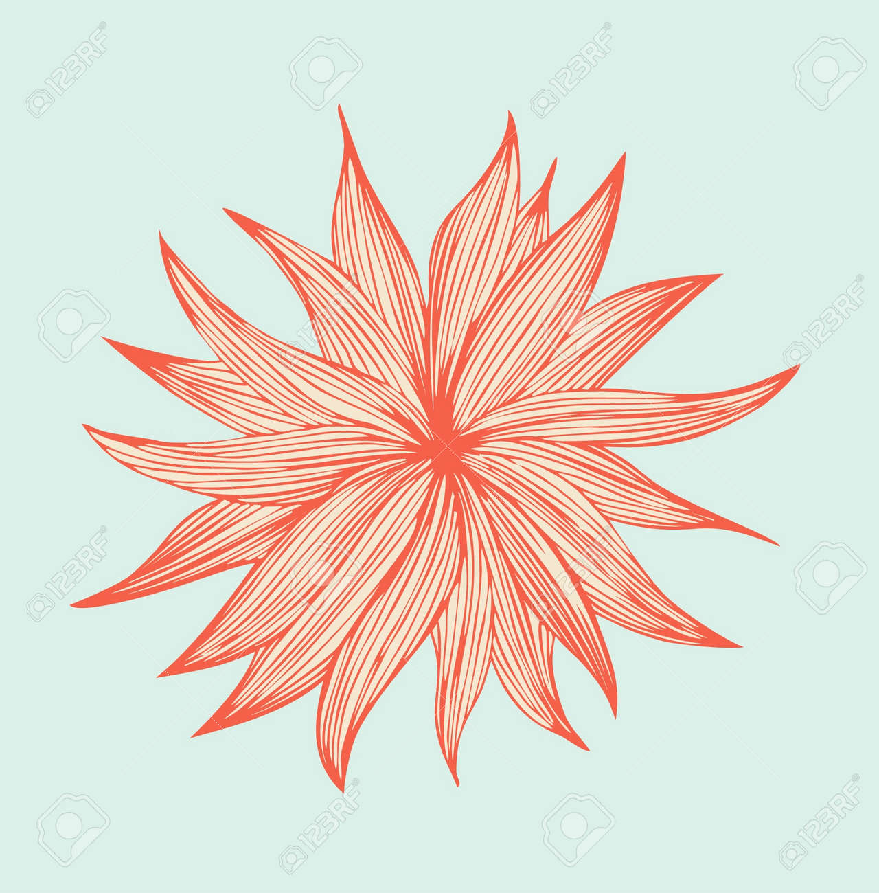 Orange linear isolated flower  Cute floral element for wrappers, covers, cards, textile, prints Stock Vector - 17210113