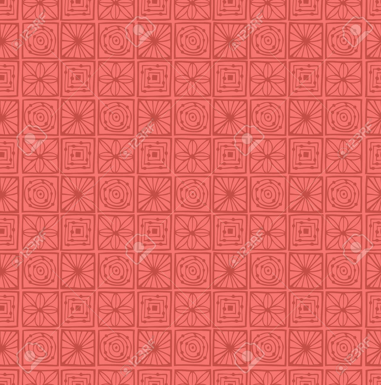 Geometric ornate seamless pattern  Pink abstract damask texture  Tile background Stock Vector - 17333325