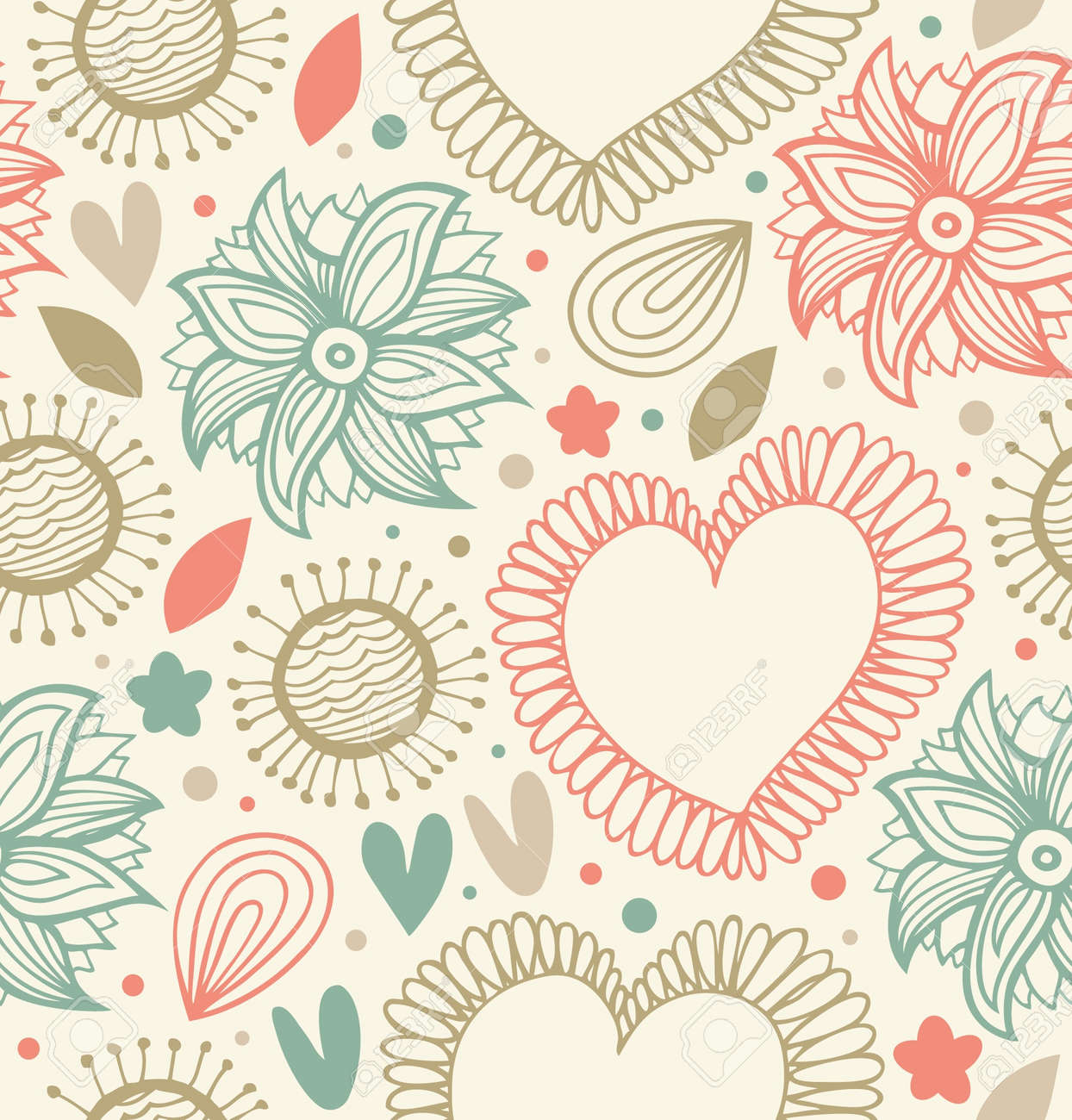 Floral beauty seamless pattern on the light background. Digital backdrop with hearts and flowers. Fabric decorative stylish texture Stock Vector - 17695117