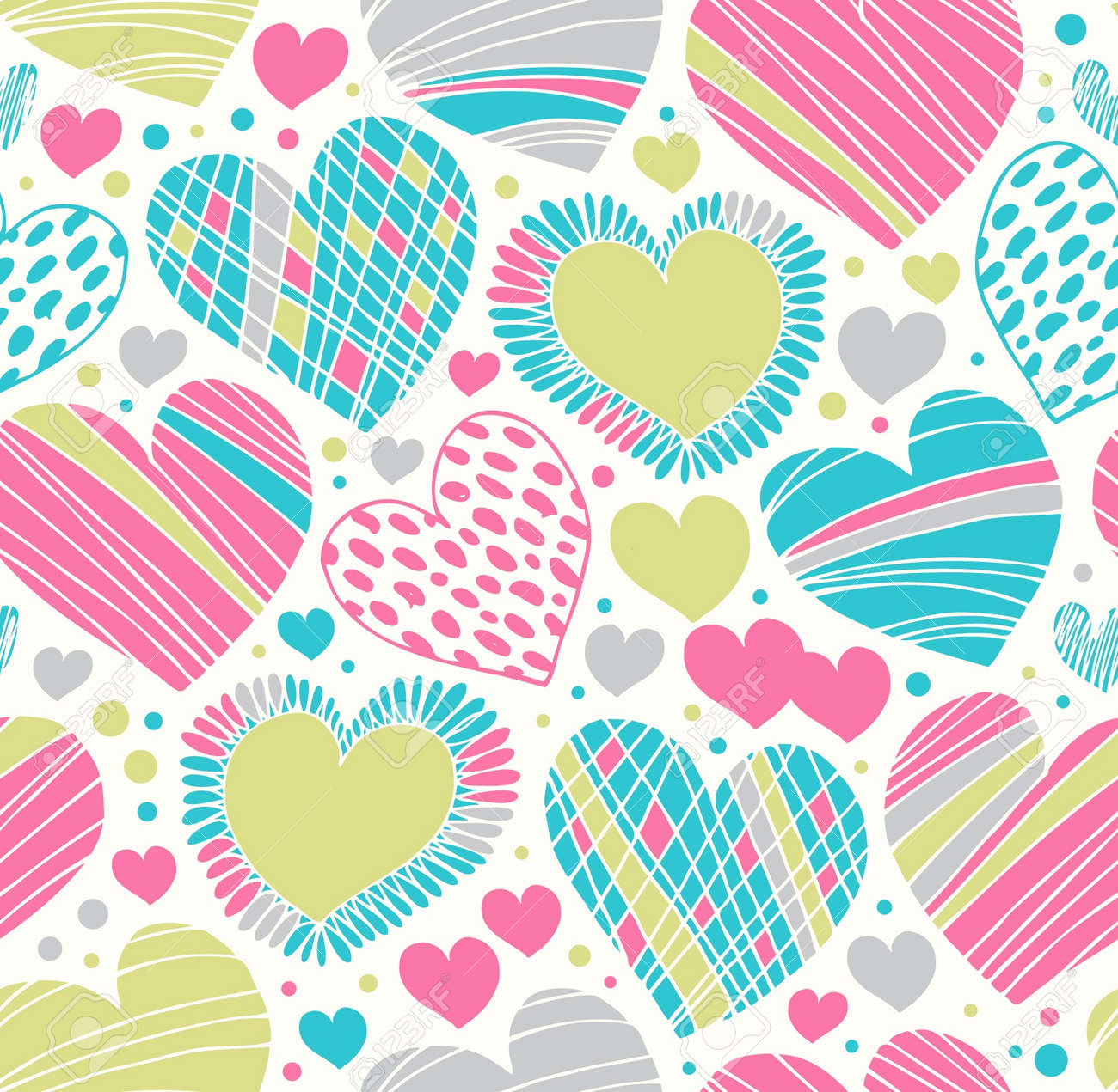 Colorful love ornamental pattern with hearts. Seamless scribble background. Creative fabric texture with many details Stock Vector - 17933358