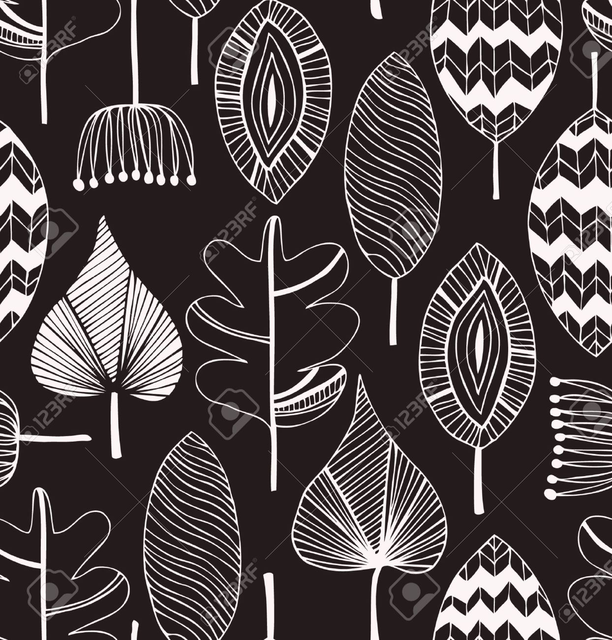Floral linear seamless decorative pattern. Scribble background with leafs. Black and white contour fabric texture. Hand drawn template for design Stock Vector - 17933364