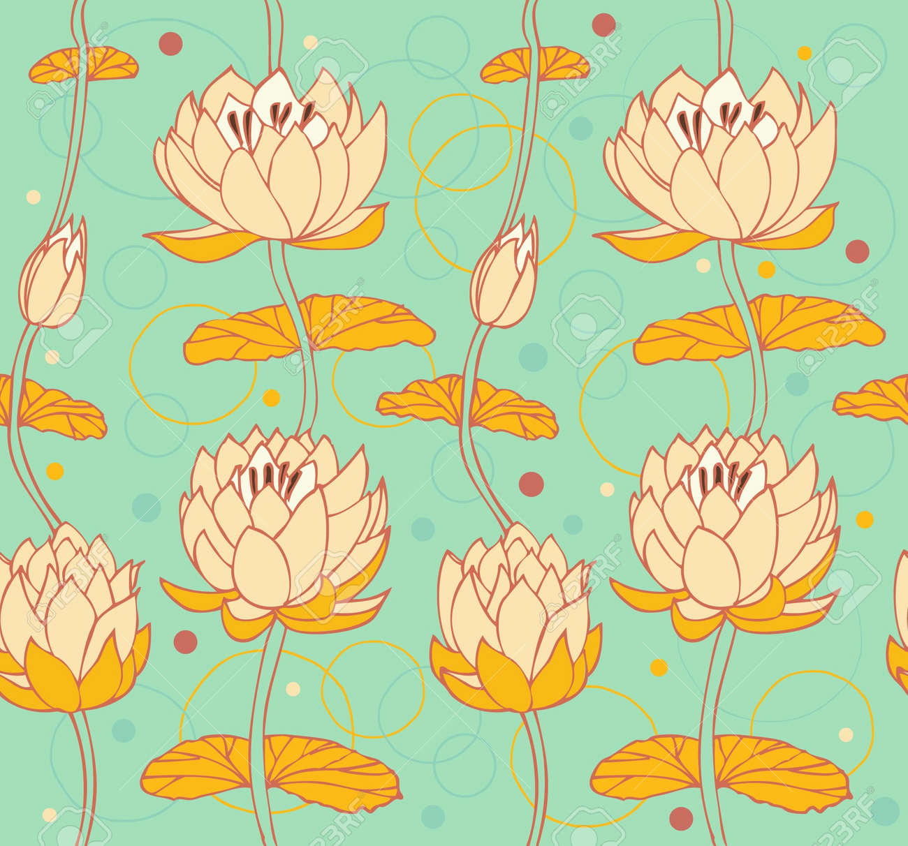 Lotus Background Floral Pattern With Water Lilies Seamless ...