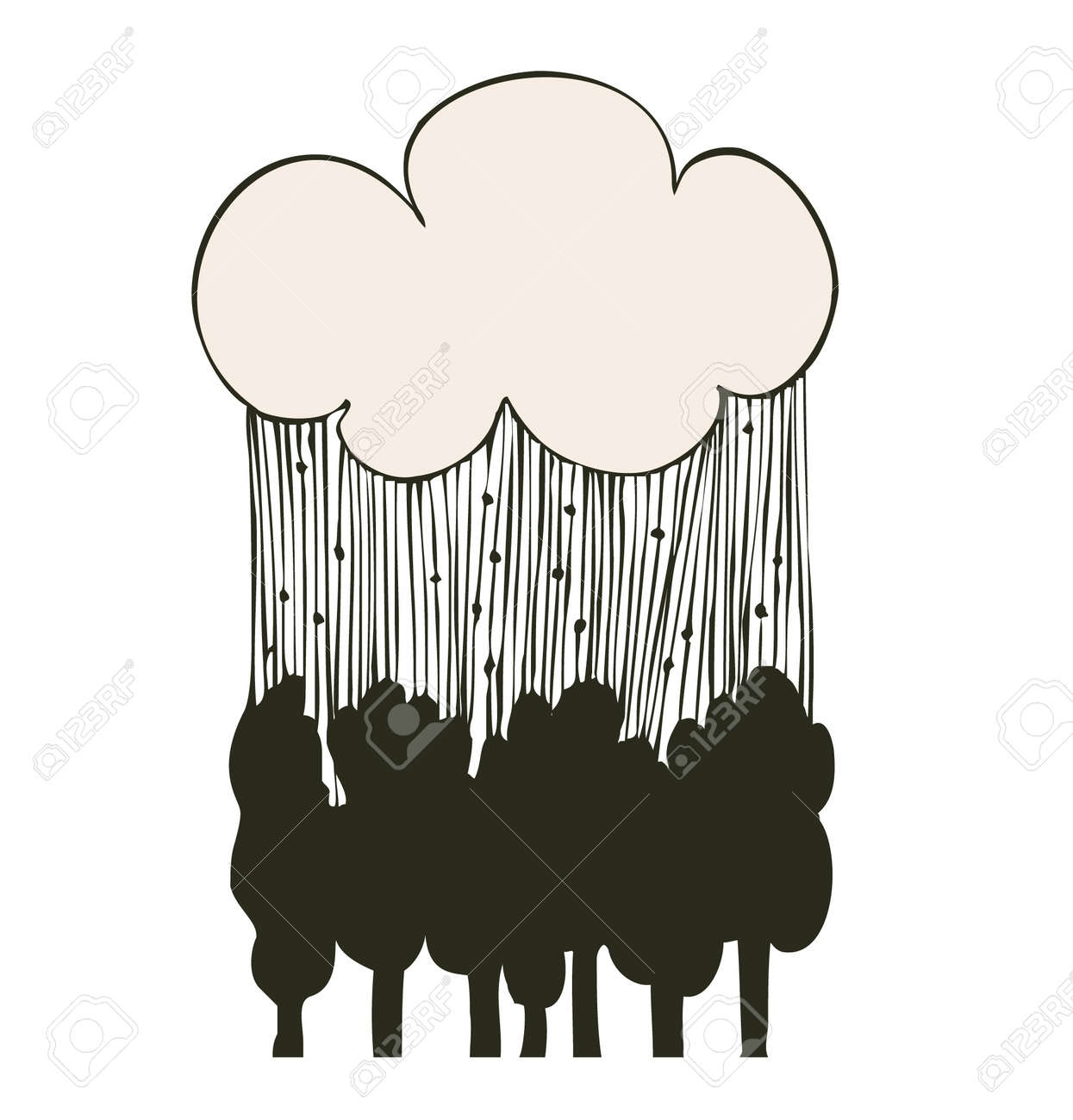 linear rain clouds over the trees  Decorative silhouette landscape Stock Vector - 18424902
