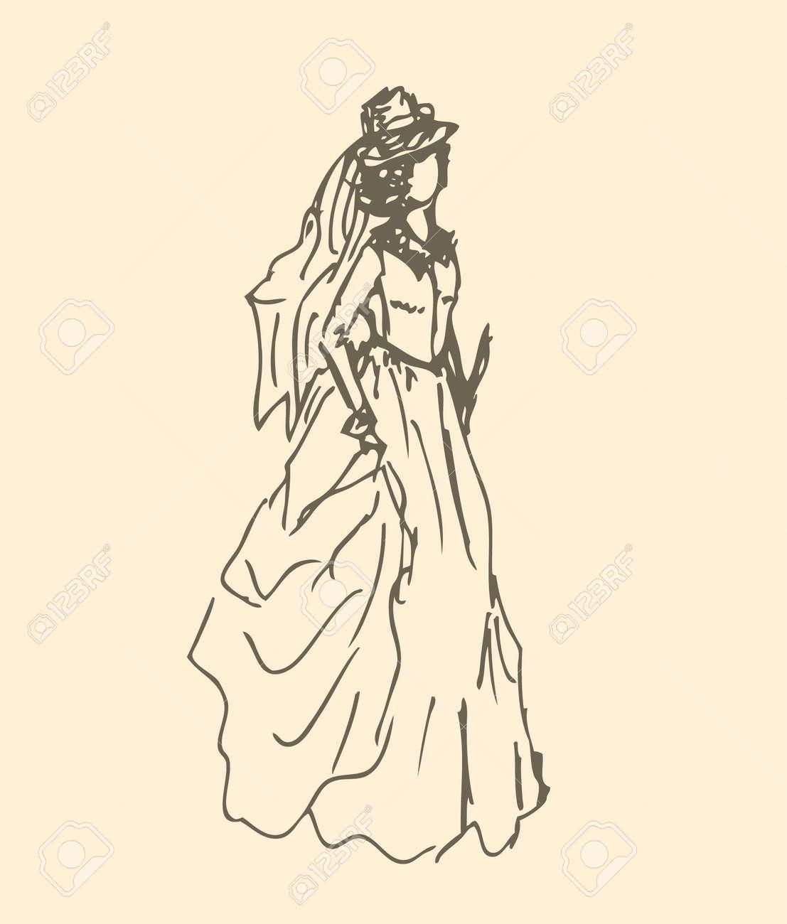 355da0db491 Banque d images - Dame romantique dans Femme Vêtements historique Croquis  robe vintage de la silhouette de la femme dans le style rétro