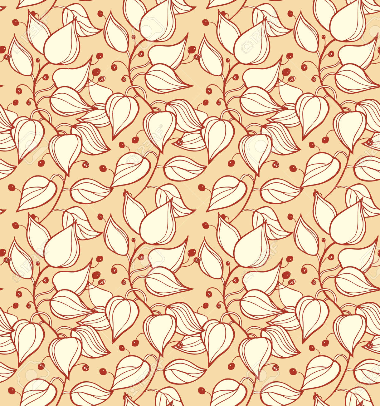 Branches Seamless Ornamental Pattern Decorative Modern Floral Background  Beautiful Ornate Template With Leafs For Design And