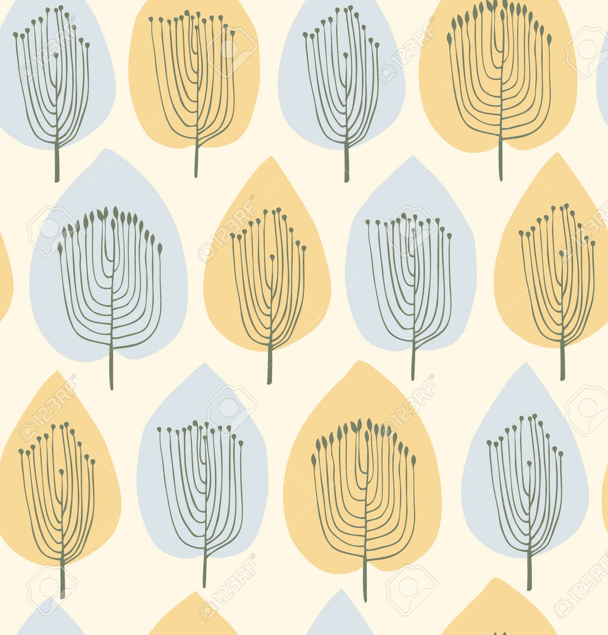 Floral Seamless Pattern In Modern Style Fabric Texture With