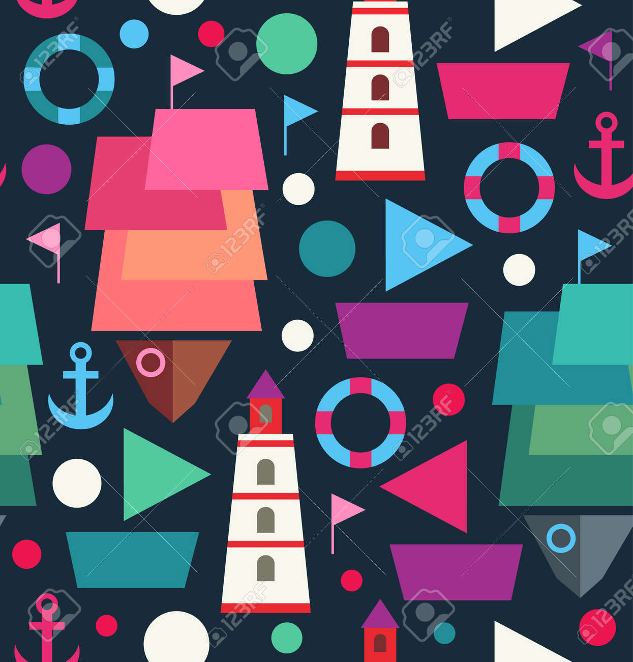 Marine seamless decorative pattern  Sea creative background with ships, boats, lighthouses, beacons and anchors Stock Vector - 20722998
