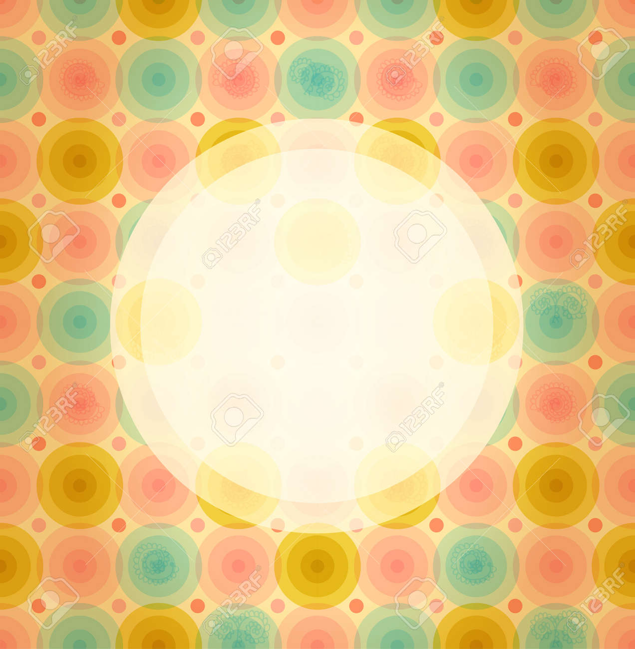 Round frame on cute baby background  Vintage banner on seamless pattern with circles Stock Vector - 21069736
