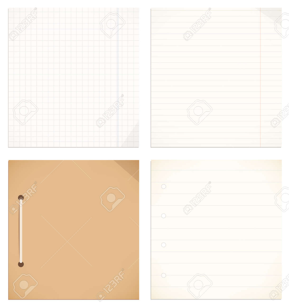 Vector isolated collection of notebook, copybook leaves  Empty blank for writing, notes  School and business elements Stock Vector - 21575974
