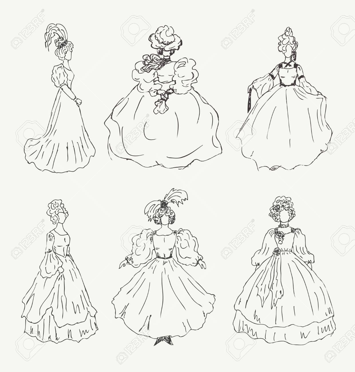 Colección De Dibujos De Mujeres Retro Ropa Históricos Damas De