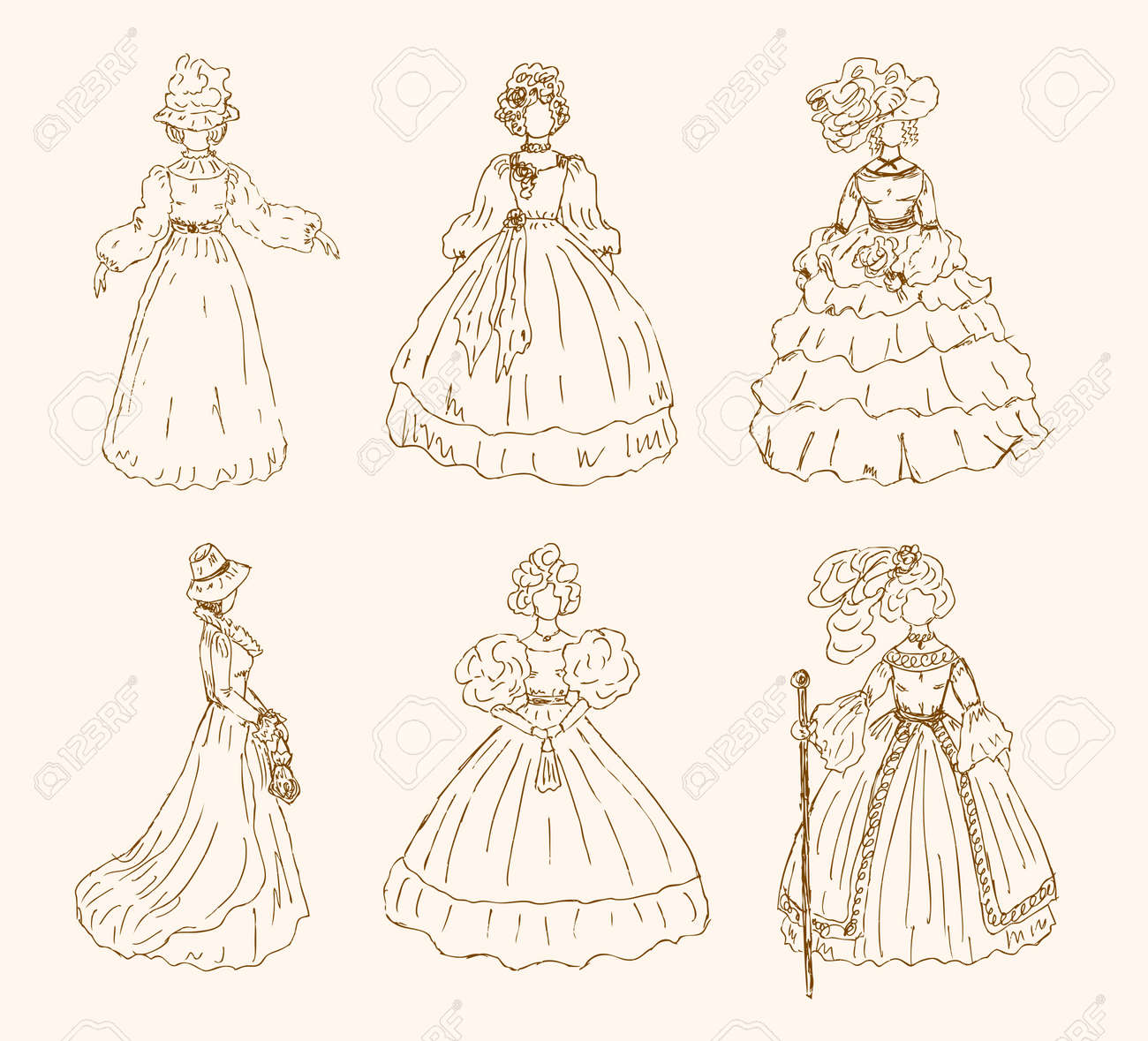Vector - Women sketchy collection in retro style Ladies in vintage dresses  Set of hand drawn retro women silhouettes