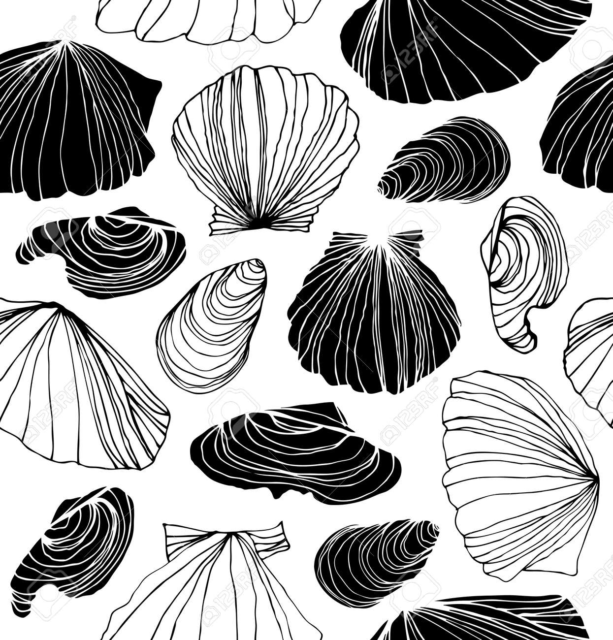 Seamless marine pattern with shells black and white graphic