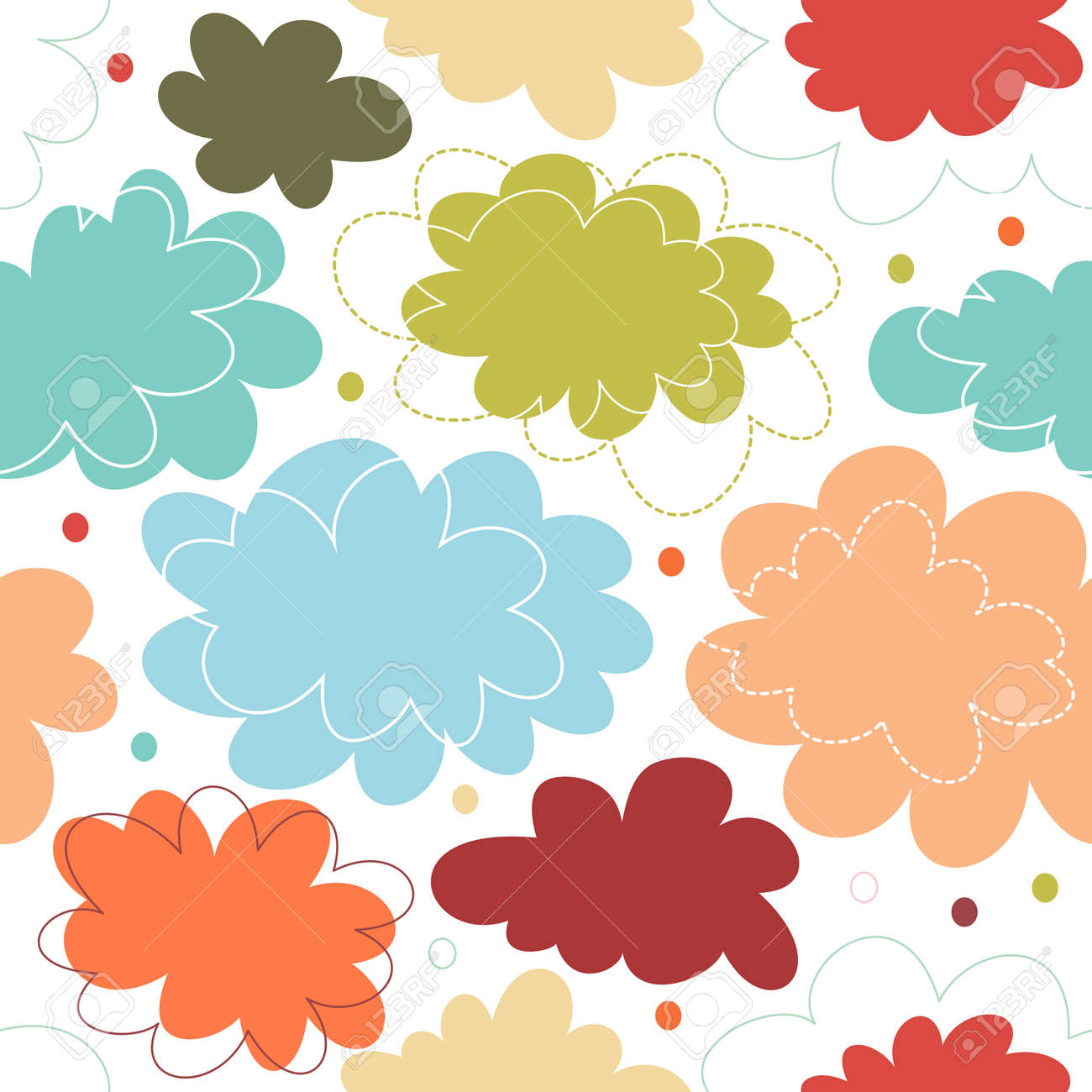 64272d439 Seamless Decorative Multicolor Pattern With Fantasy Clouds. Childish ...