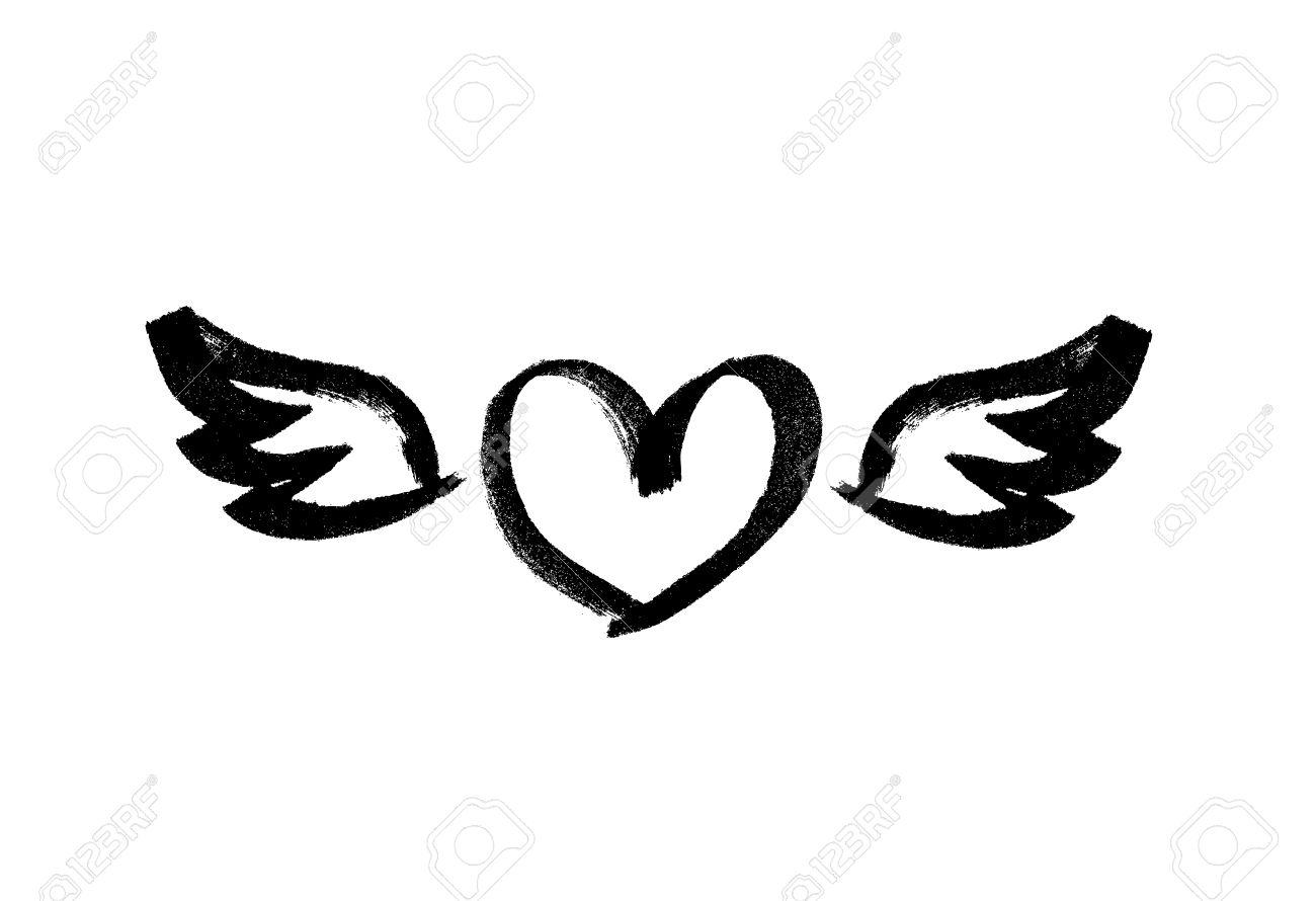 Herz Mit Flügeln Liebessymbol Tinte Handgezeichnete Schriftzug