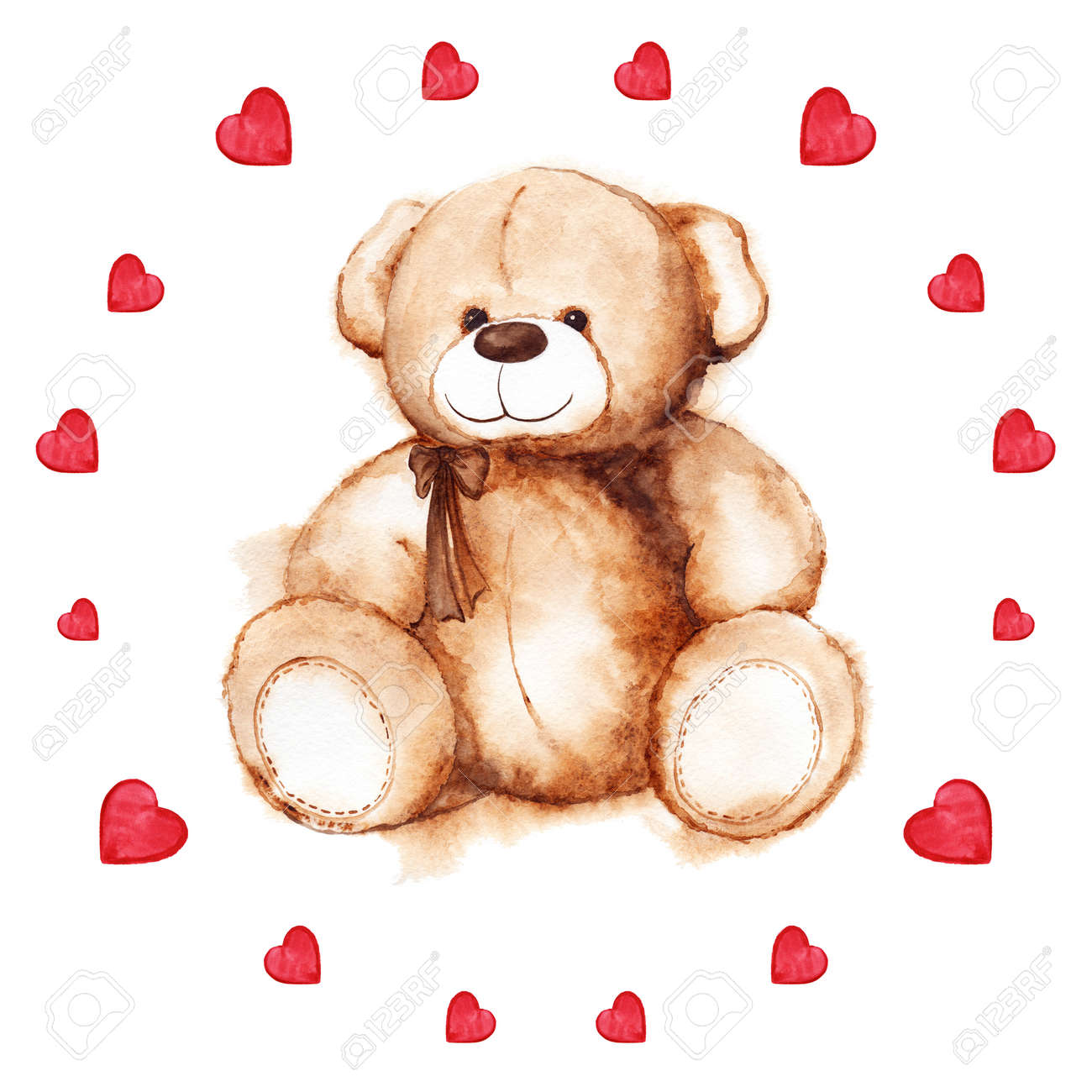 Watercolor Teddy Bear Heart Saint Valentines Day Card – Saint Valentine Card