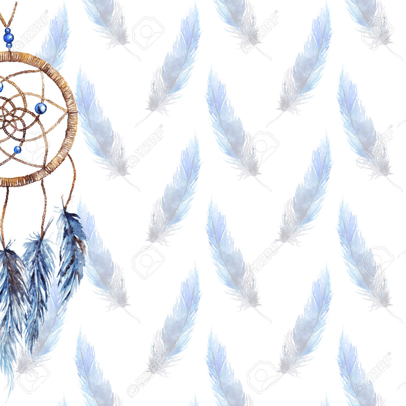 watercolor ethnic tribal hand made feather dreamcatcher template