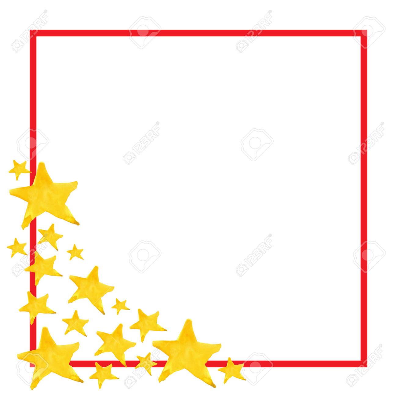 Acuarela De Cinco Puntas Símbolo De La Estrella Plantilla De Marco ...