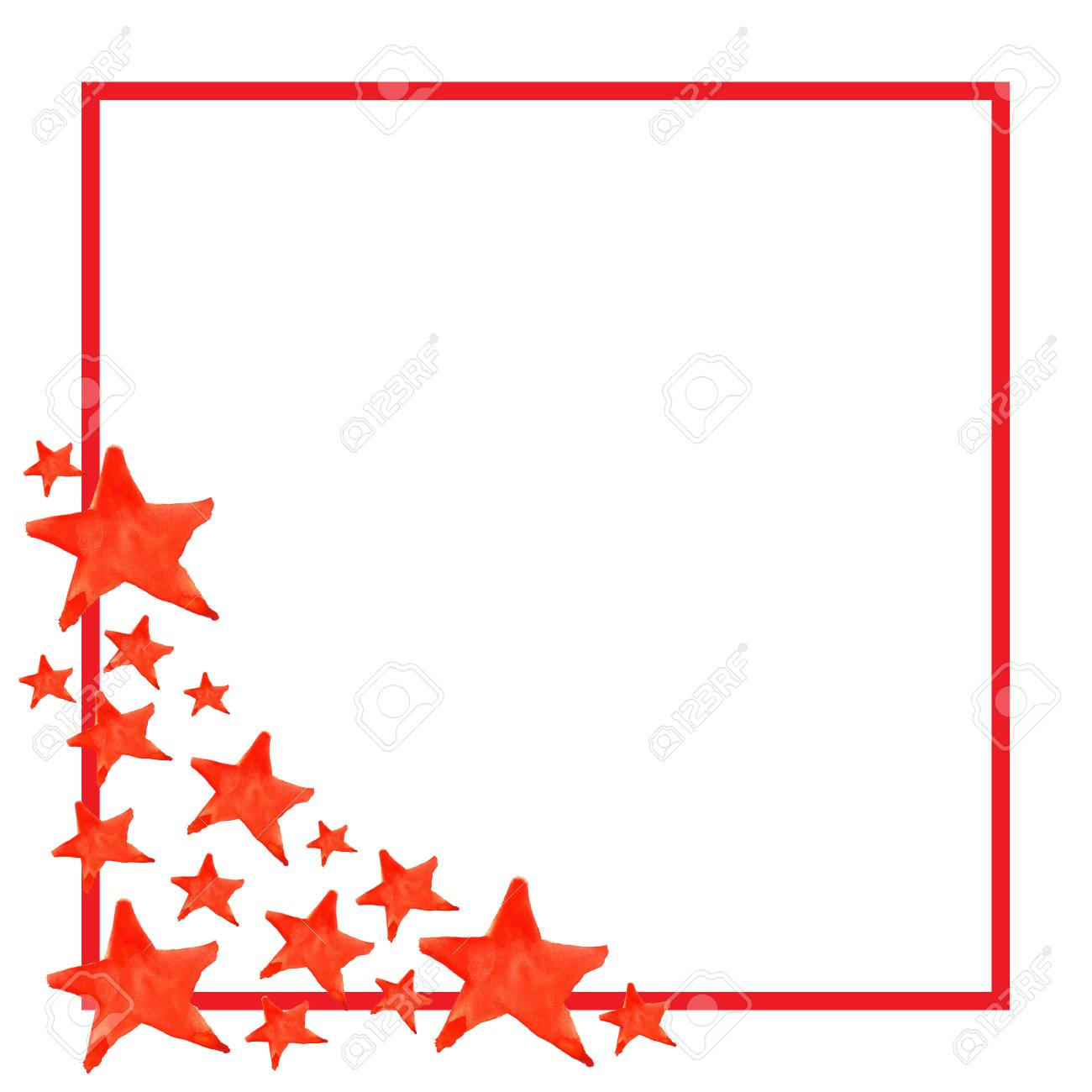 Watercolor Five Pointed Star Symbol Frame Template Background. Stock ...