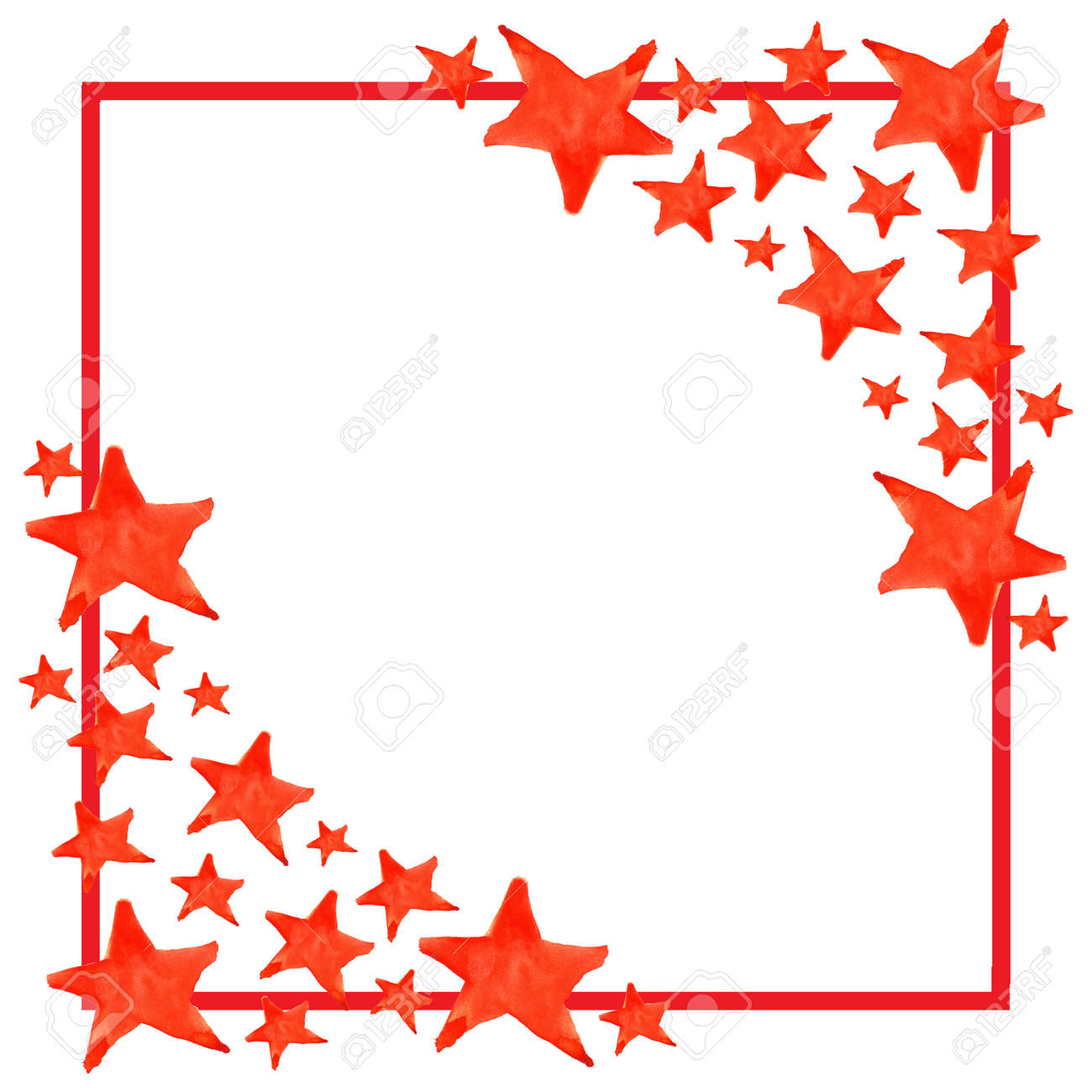 Aquarell Fünfzackigen Stern-Symbol-Rahmen-Vorlage Hintergrund ...
