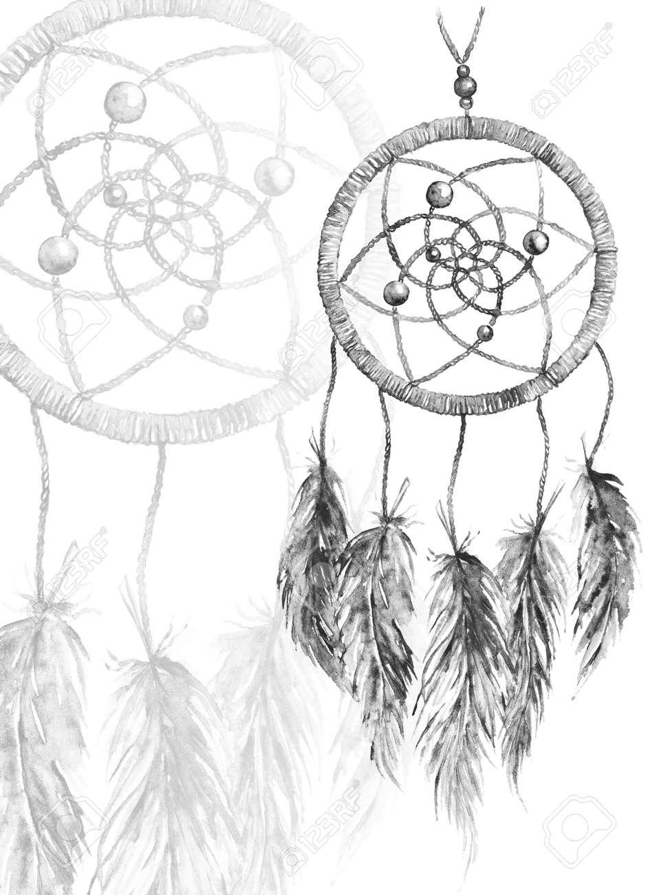 Blanco Y Negro De La Acuarela Mano étnica Tribal Hizo Atrapasueños
