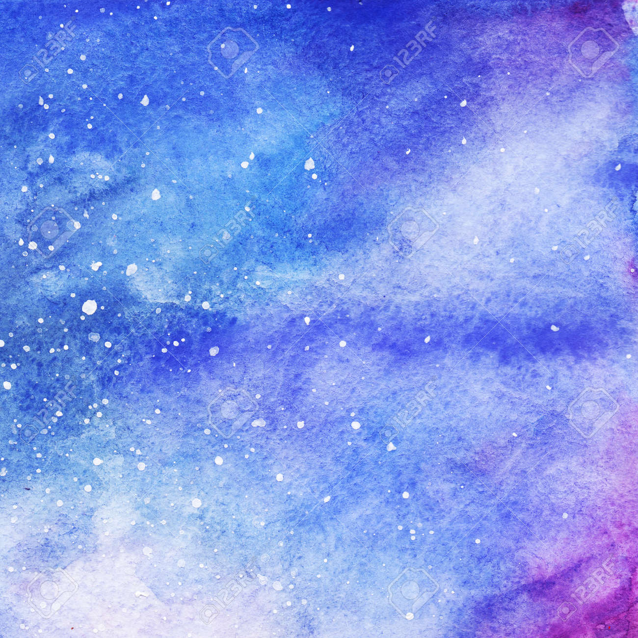 watercolor colorful starry space galaxy nebula background stock
