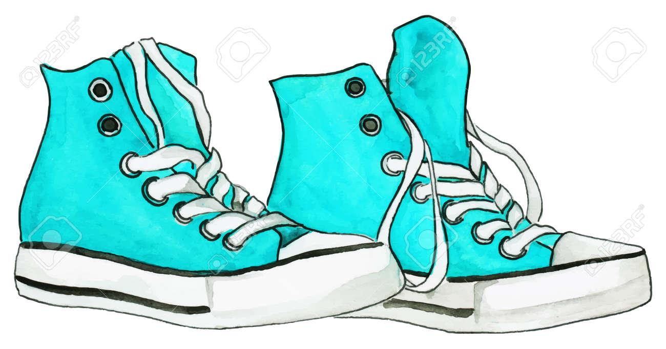 renommée mondiale style moderne plus bas rabais Aquarelle menthe bleu turquoise espadrilles paire de chaussures isolées  vecteur.