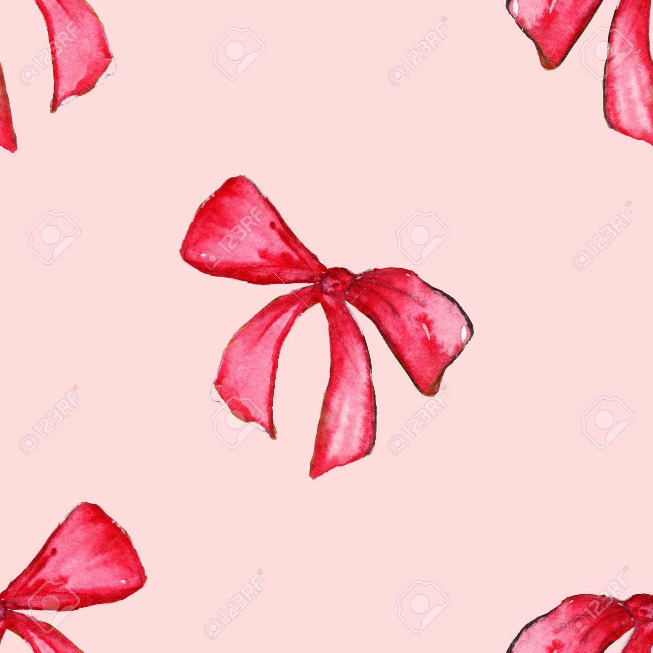 Acquerello Rosso Rosa Nastro Fiocco Regalo Del Nastro Senza