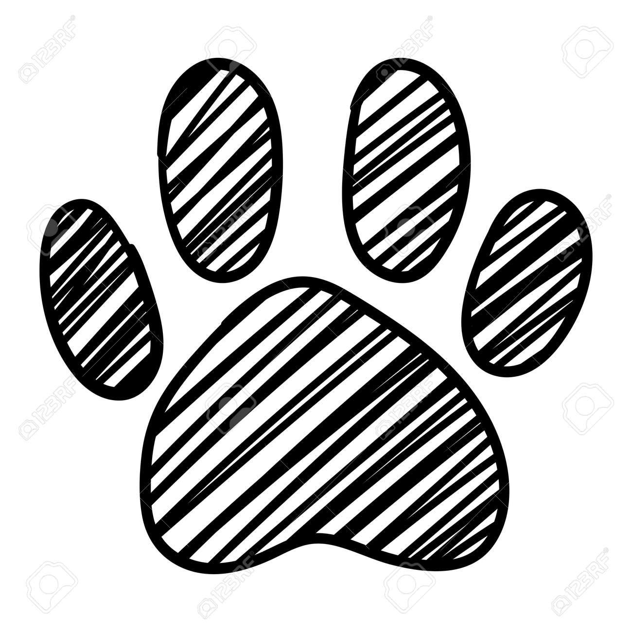 Monochrome Black And White Dog Cat Pet Animal Paw Foot Isolated
