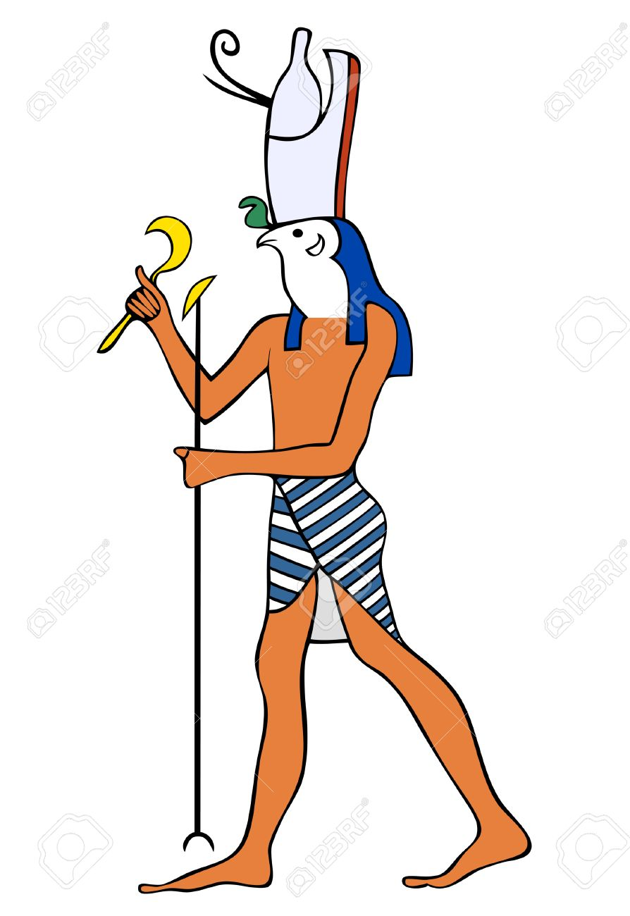 God of Ancient Egypt- Horus - Heru - the falcon-headed god - is one of the oldest and most significant of the deities in the Ancient Egyptian religion. Horus served many functions in the Egyptian pantheon, most notably being the god of the sky and god of Stock Vector - 7234896