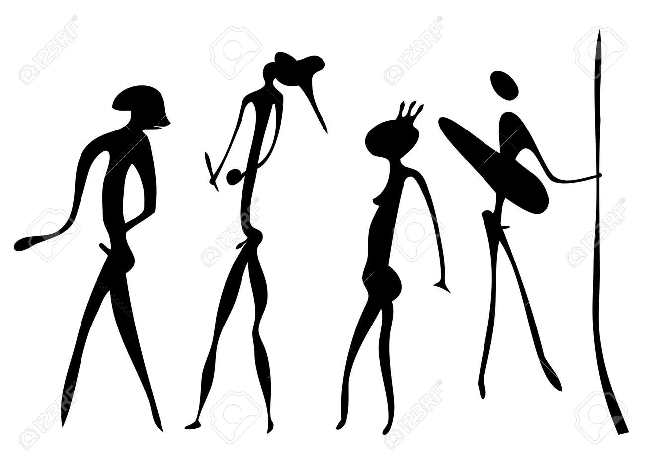 Primitive figures looks like cave painting - vector Stock Vector - 8494571