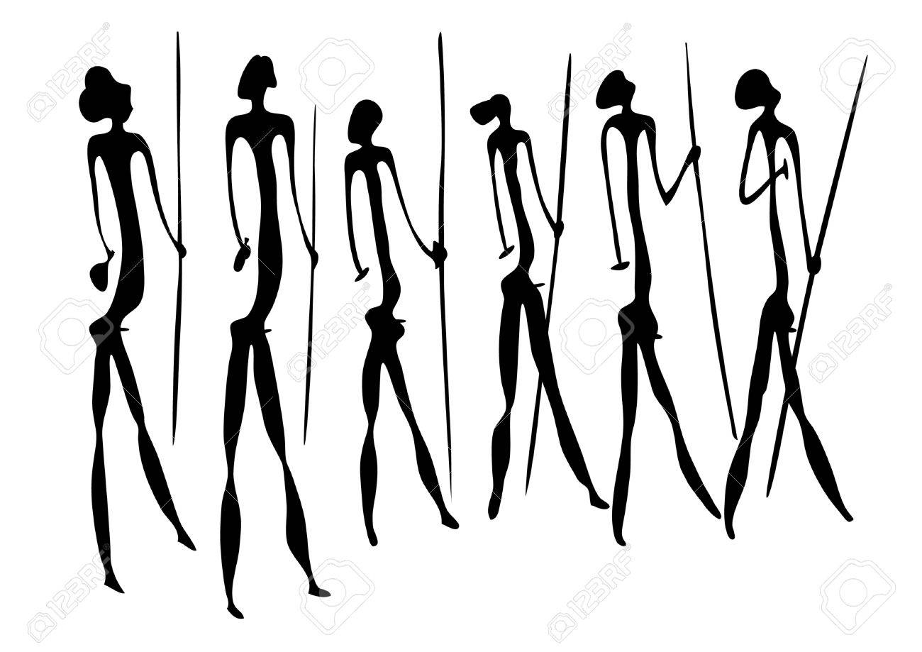 Primitive figures looks like cave painting Stock Vector - 8499885