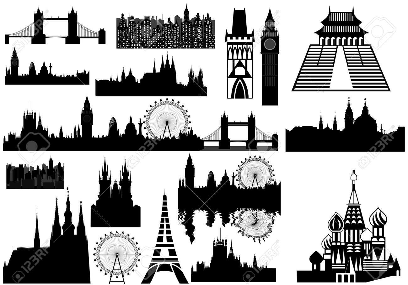 Various landmarks - London, Prague, Paris, Russia - Russian Orthodox cloister Stock Vector - 11674543