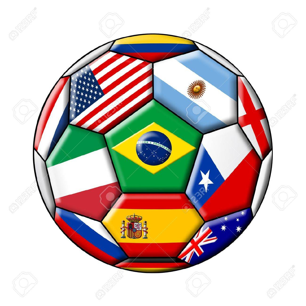 soccer with flags isolated on a white background - 24035740