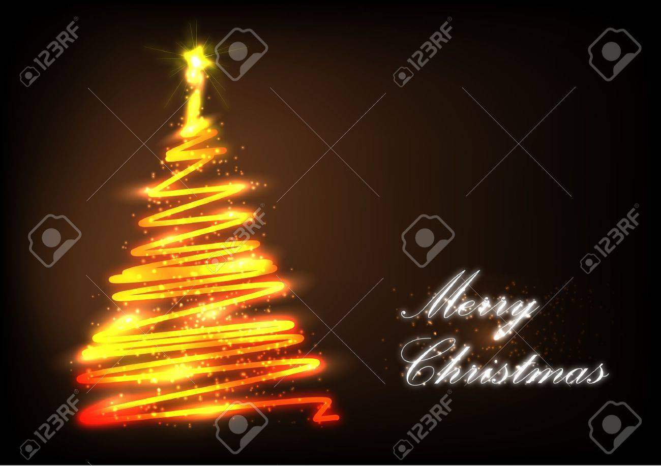 Stylized Christmas tree with lights and decorations on a dark background Stock Vector - 15197997