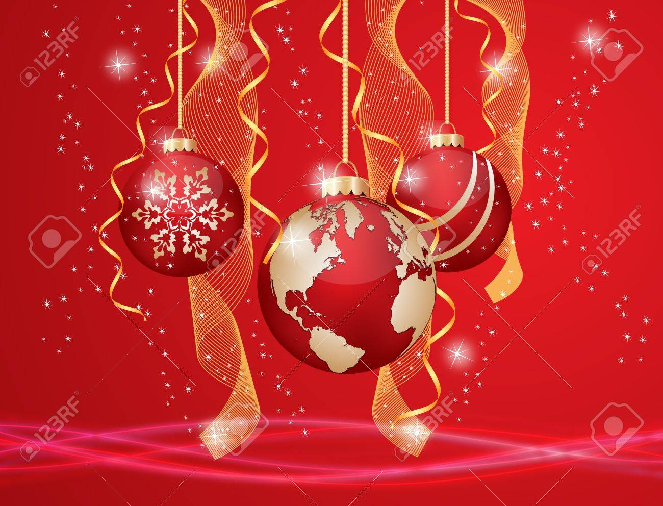 Christmas ball with world map on a decorated background royalty free christmas ball with world map on a decorated background stock vector 15081107 gumiabroncs Images