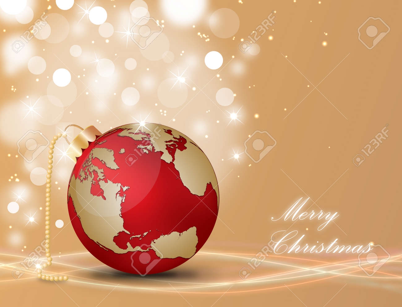 Christmas ball with world map on a decorated background royalty free christmas ball with world map on a decorated background stock vector 15081104 gumiabroncs Images