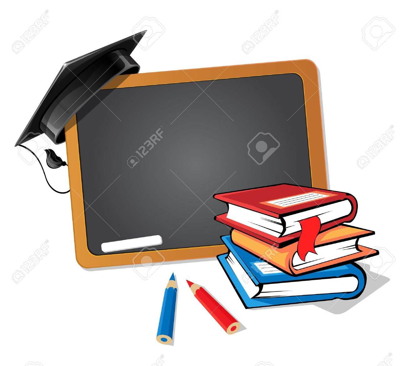 Stack of books with a blackboard and a graduation hat background - 15164146