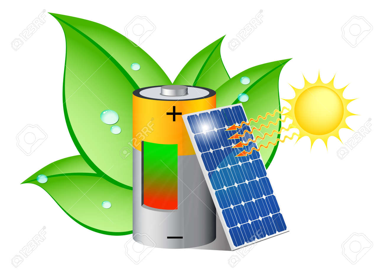 Battery charging with a photovoltaic panel exposed to the sun Stock Vector - 16032964