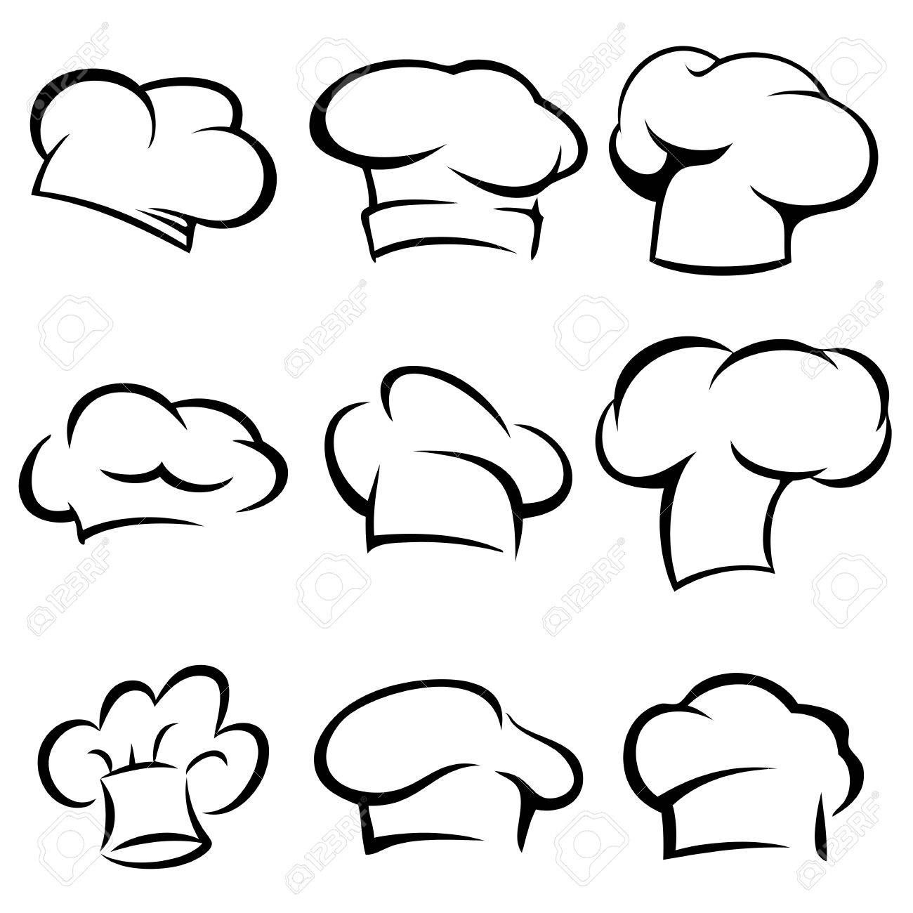set of chef hats icons stylized silhouettes royalty free cliparts
