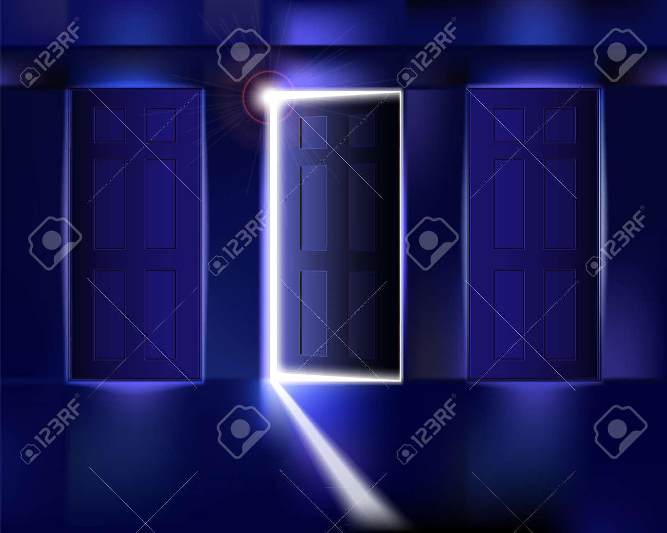 Corridor with open door. Vector illustration. Stock Vector - 11570618
