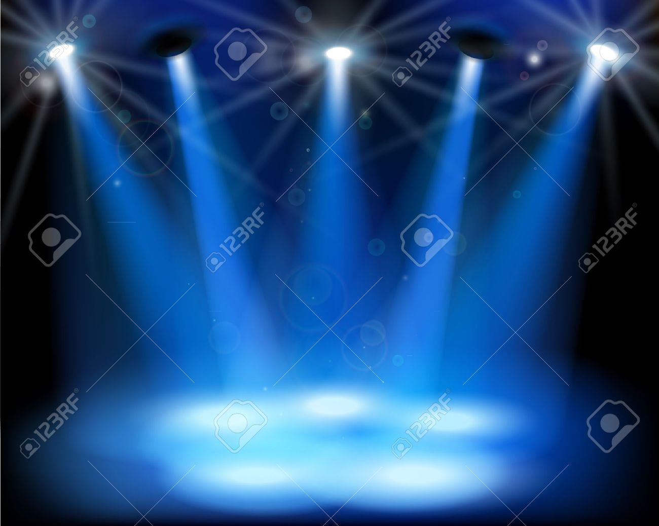 Empty outdoor rock stage - Festival Stage Stage Lights Vector Illustration