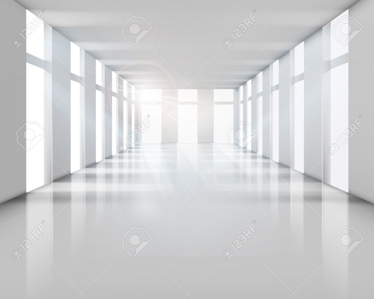 Empty living room with large windows can be as background stock - White Room Empty White Interior Vector Illustration