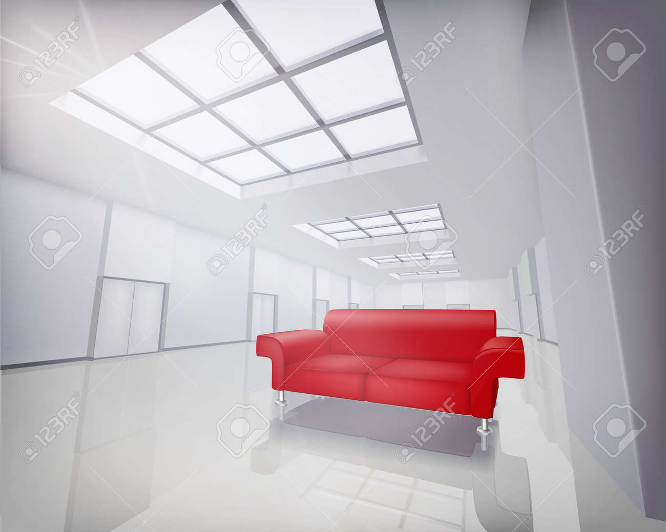 Room with red sofa   Vector illustration Stock Vector - 20882279