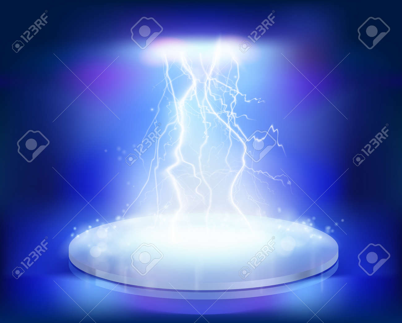 Electrical explosion on the stage. Vector illustration. - 37399741