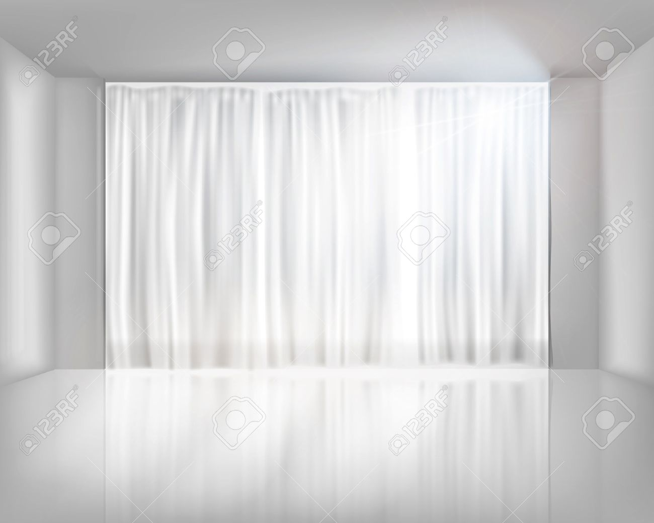 Window With Net Curtains. Vector Illustration. Royalty Free Cliparts ...