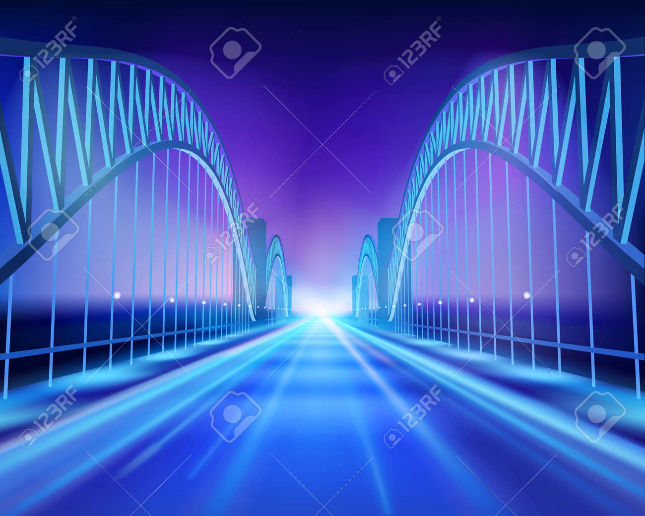 Bridge in the night. Vector Illustration. - 38938869